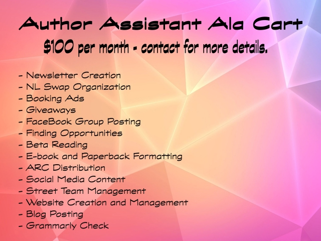 author assistant, new release, package, formatting, book formatting, book giveaways, newsletters, authors, books, publishing assistants, pa, va